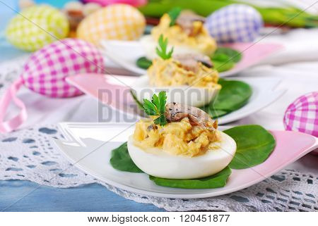 Easter Eggs Stuffed With Mushrooms