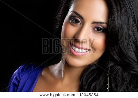 Beautiful young smiling hispanic woman