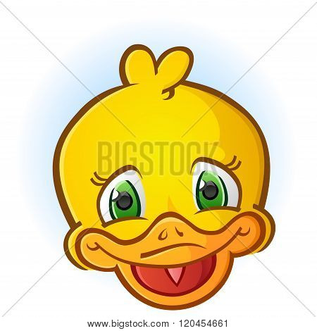 Yellow Rubber Duck Face Cartoon