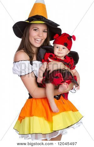Mother and child in Halloween costumes