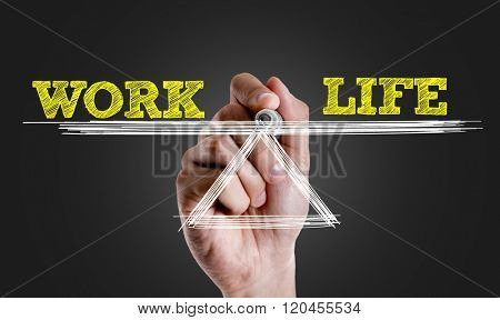 Hand writing the text: Work Life Balance