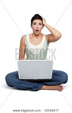 Frustrated shocked isolated laptop woman