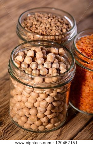 Glass Full Of Chickpeas And Next Two With Other Legumes