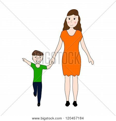 Mom Holds Her Son's Hand