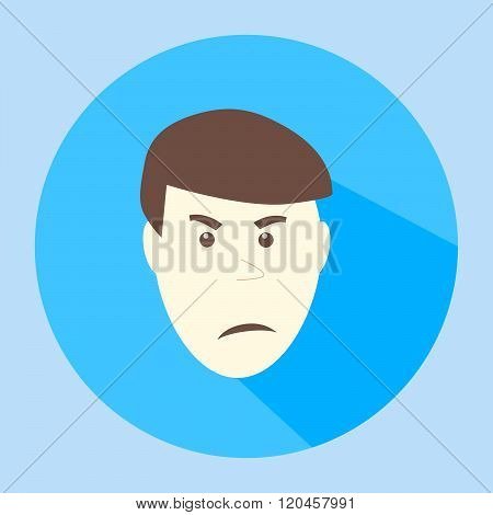 Color vector angry terrible flat icon man face emotion