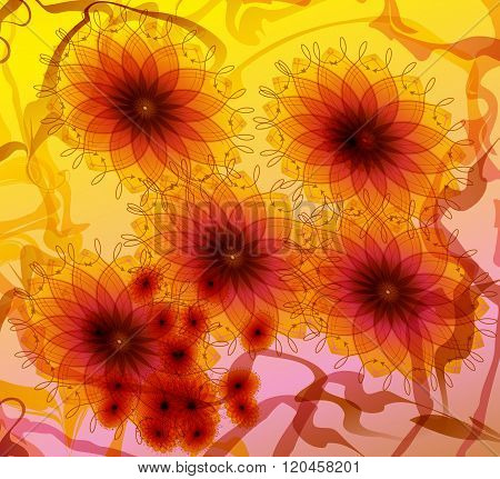 daisy flowers drawn graphically