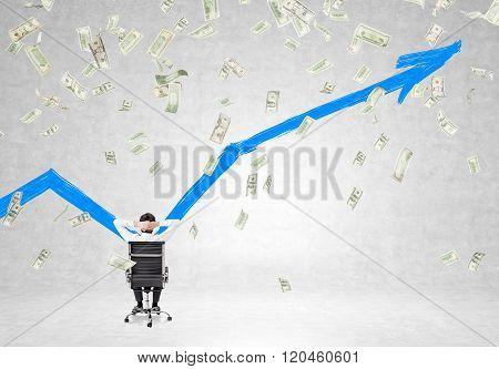 Man Looking At Wall, Money Falling