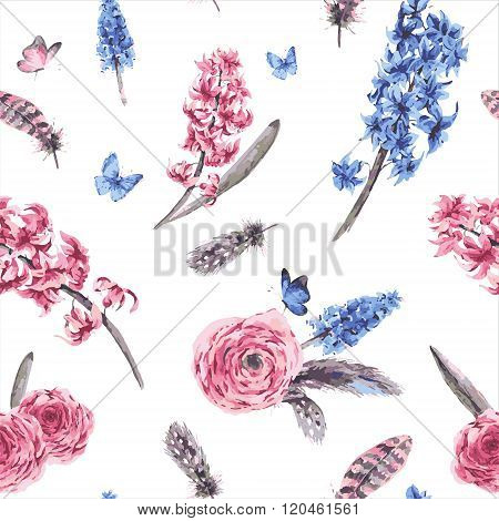 Vintage spring seamless pattern with blooming flowers bouquet