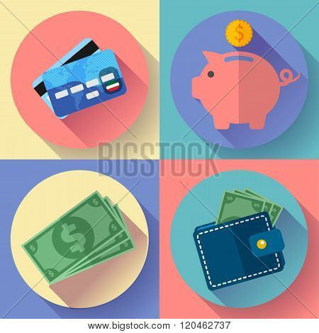 Vector icon Set Wallet, credit card, piggi and Money
