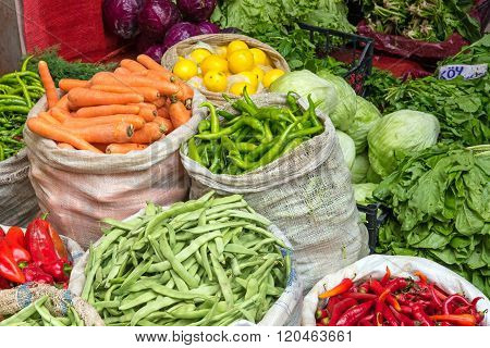 Vegetables in bags at a market