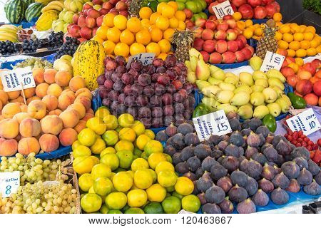 Big variety of fruits at a market