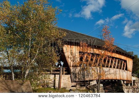 Wooden Covered Bridge In New England