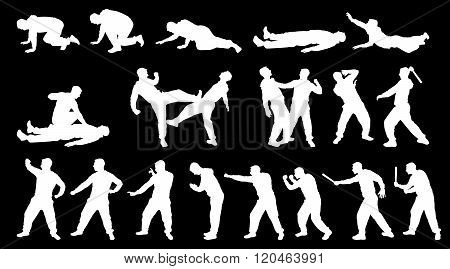 Silhouette Combat Man And Martial Arts White