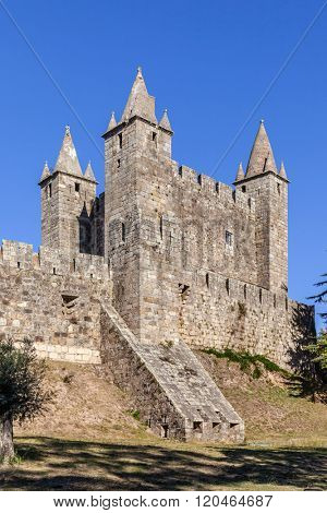 Santa Maria da Feira, Portugal. Feira Castle with the casemate bunker emerging from the walls.