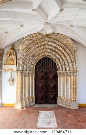 Evora, Portugal. Gothic portal in the Loios Convent used as a Historical Hotel. UNESCO World Heritage Site.