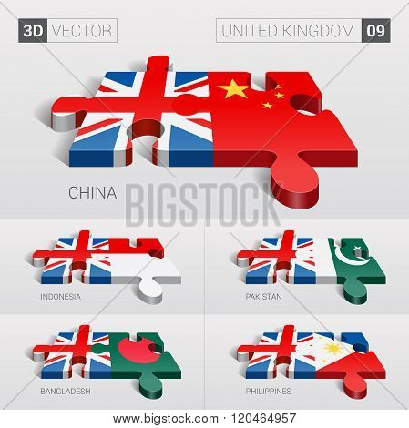 United Kingdom Flag. 3d vector puzzle. Set 09.