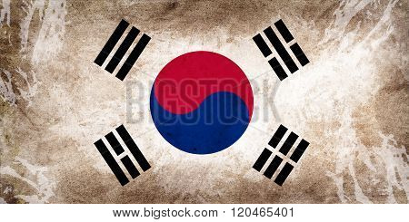 South korea flag with textures