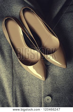 Beige Fashionable Shoes And Clothing
