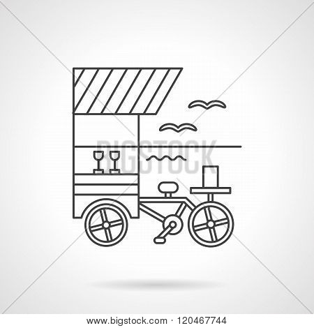 Beverages cart flat line design vector icon