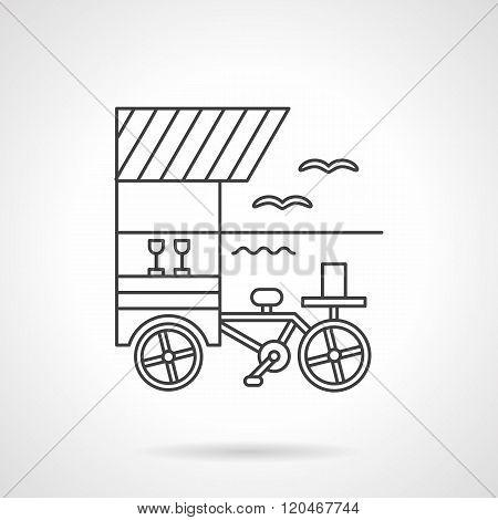 Beverages cart flat line design vector icon