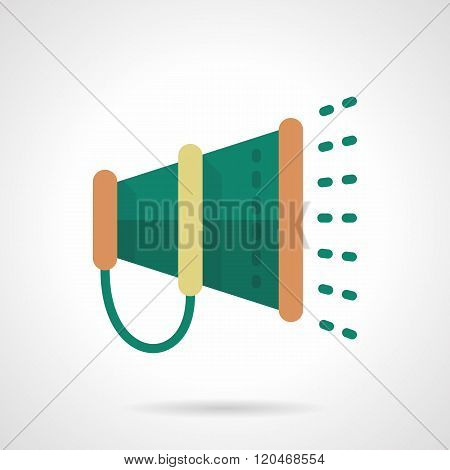Green megaphone flat color design vector icon