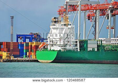 Cargo Crane And Ship