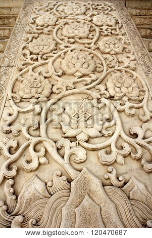 Traditional chinese carved pattern on the marble