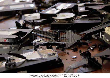 Broken VHS cassettes