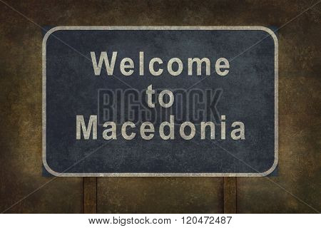 Welcome To Macedonia Roadside Sign Illustration