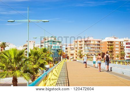 Pedestrian Bridge-pier - Way Through Puerto Deportivo Marina Salinas To Faro Torrevieja, Valencia, S