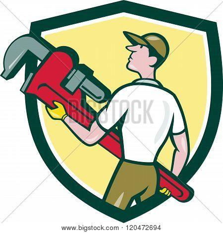 Plumber Carry Monkey Wrench Walking Crest Cartoon