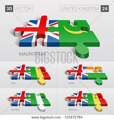 United Kingdom Flag. 3d vector puzzle. Set 24.