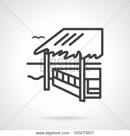 Bungalow black line design vector icon