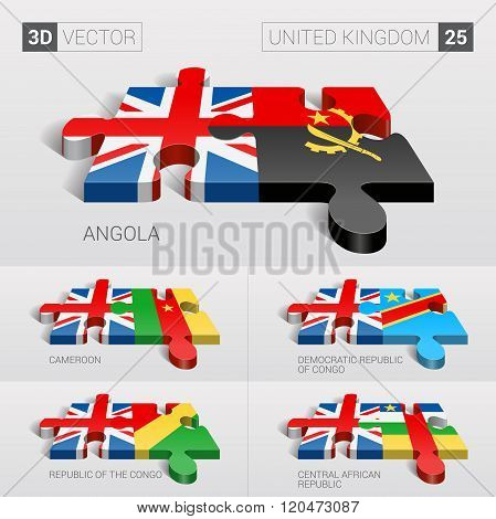 United Kingdom Flag. 3d vector puzzle. Set 27.