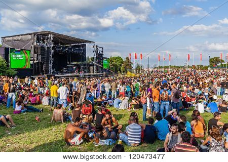Seixal, Portugal - September 5, 2015: Crowd at a concert in the Festa do Avante Festival, the most important Political-Cultural event in Portugal. Organized by the Portuguese Communist Party.