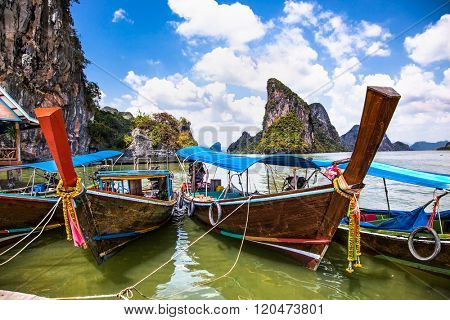 Long tail boat in Koh Panyi, Muslim Fishing Village in Phang Nga. Thailand.