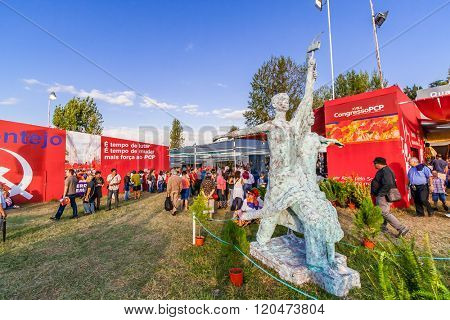 Seixal, Portugal - September 5, 2015: Replica of the Soviet statue, Worker and Kolkhoz Woman. Festa do Avante Festival, a major Political-Cultural event. A Portuguese Communist Party organization.