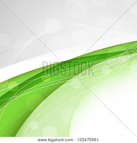 Abstract Green Waves - Data Stream Concept. Vector