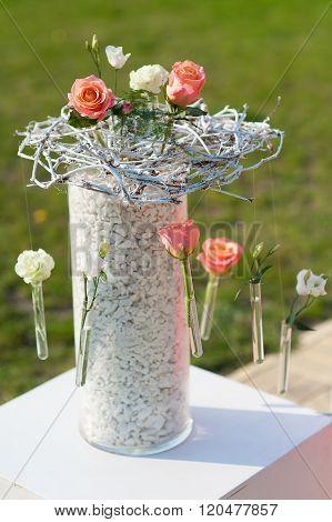 Vase Of Beakers. Wedding Decorations