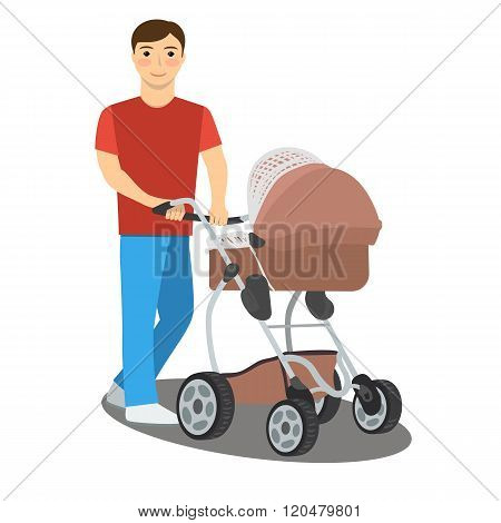Young Father With A Baby Stroller