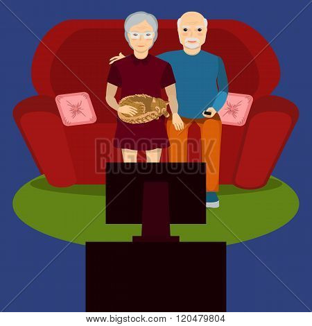 Elderly Couple Watch Tv