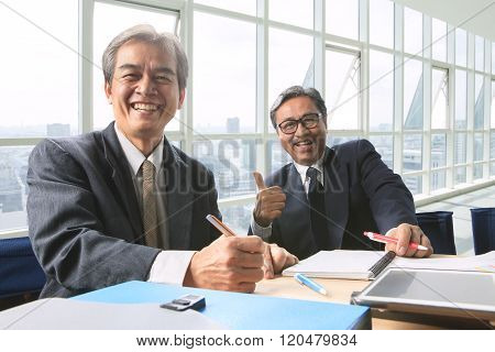 Good Healthy Of Couples Frienship Senior Working Man Shot On Office Working Table, Happiness Emotion
