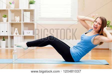 Happy Young Woman Working Out