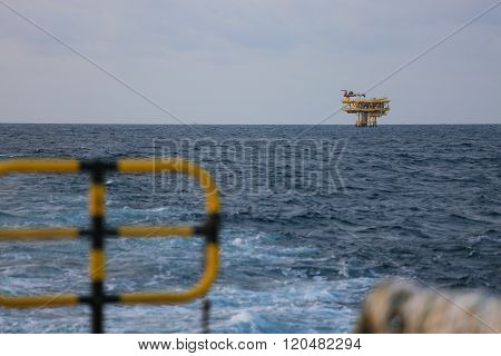Offshore construction platform for production oil and gas, Oil and gas industry and hard work