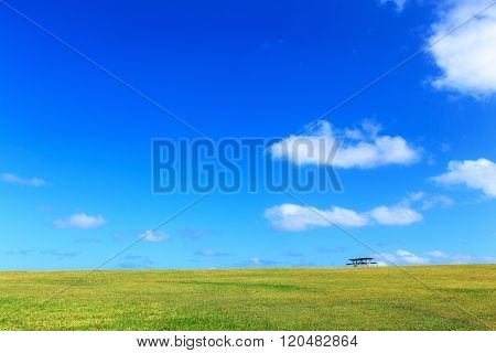 beautiful landscape, clear blue sky with copyscape, used as background.