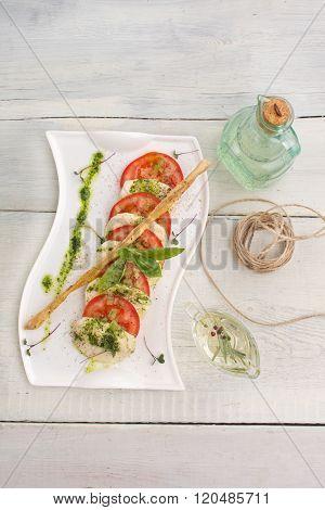 Caprese Salad Tomato And Mozzarella Slices