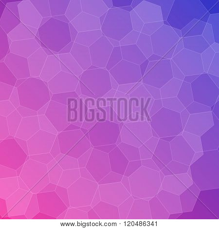 Abstract Pink-blue Background With Hexagons