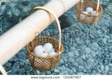 Onsen steaming egg
