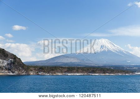 Lake Motosu with mountain Fuji