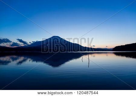 Lake Yamanaka with mountain Fuji at sunset